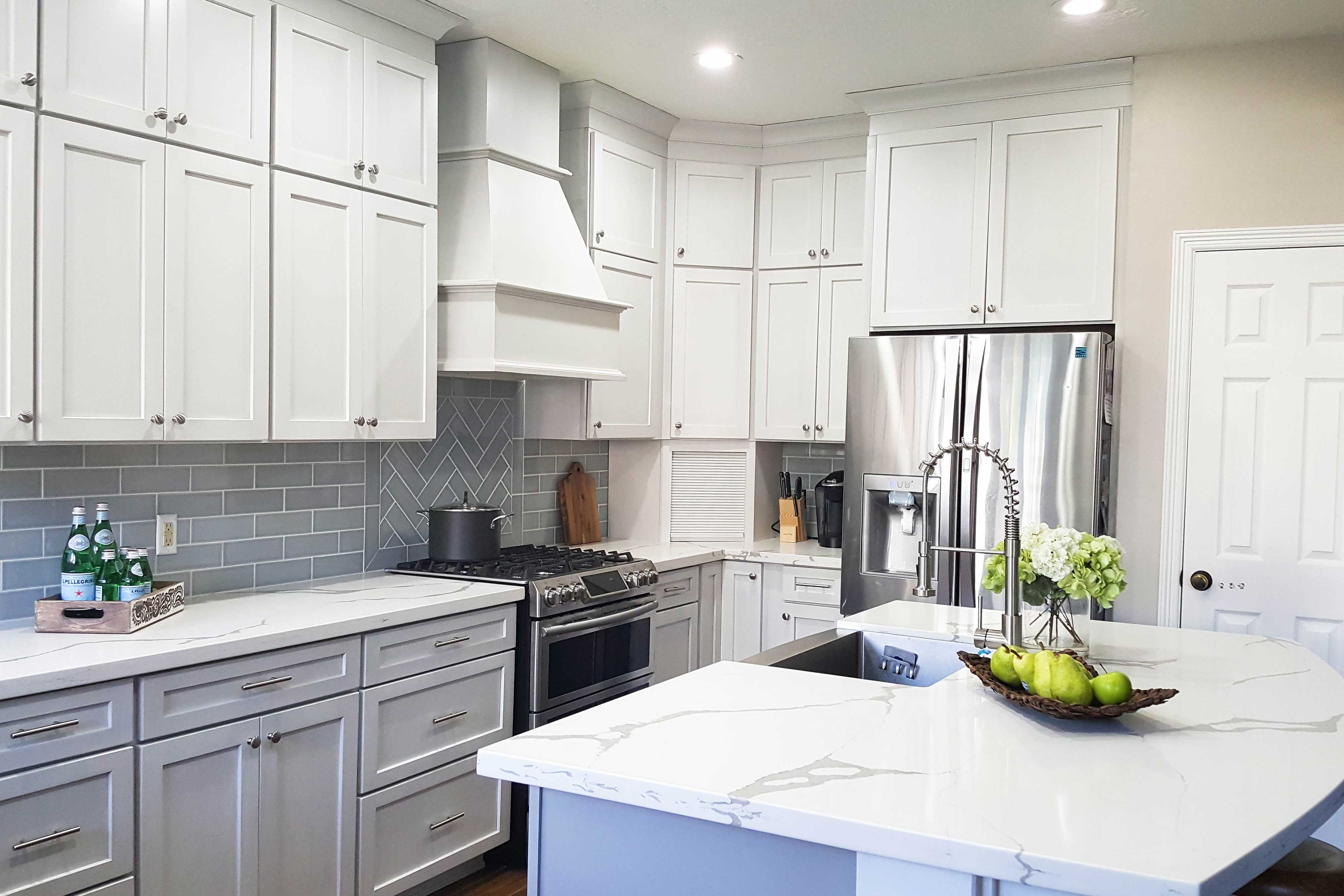 Colonial II Maple Bright White Brushed Gray Glaze Framed ...