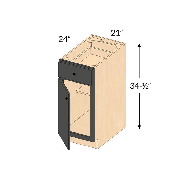 B21 Shaker Maple Espresso Base Cabinet 1 Door 1 Drawer Framed Assembled Kitchen Cabinet Cabinets Com