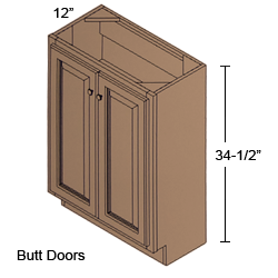 B24 Fh 12 Shaker Maple Charcoal Base Full Height Cabinet 12 Inch Deep 2 Butt Door Deerfield Assembled Kitchen Cabinet Cabinets Com