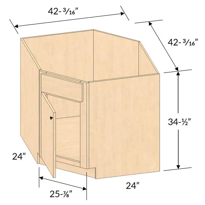 Shaker Maple Natural Diagonal Corner, Kitchen Corner Cupboard Dimensions