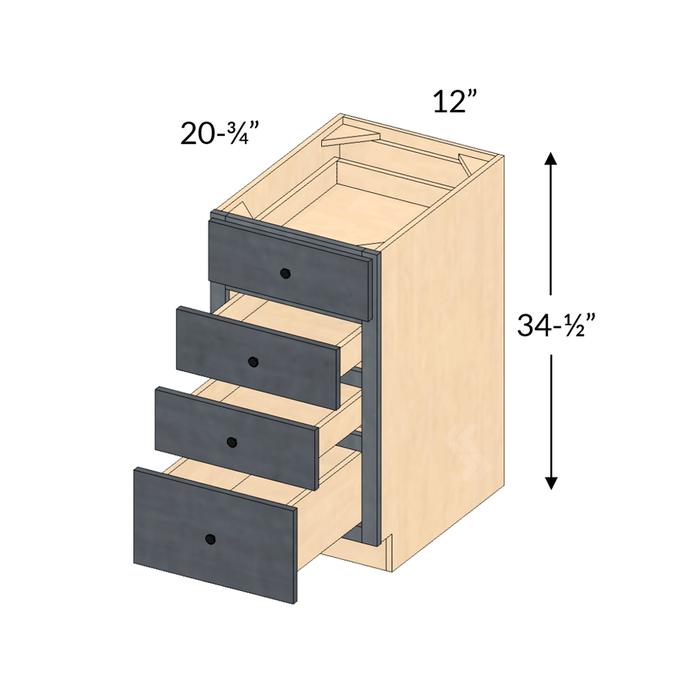 Shaker Maple Slate Tall Vanity Four, 4 Drawer Bathroom Cabinet