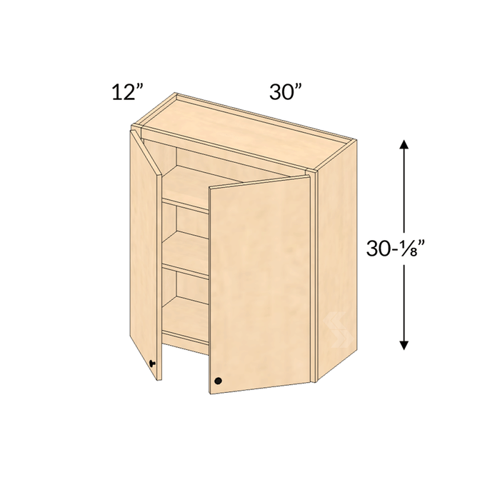 W3030 Shaker Maple Natural Wall Cabinet 2 Butt Door Framed Assembled Kitchen Cabinet Cabinets Com